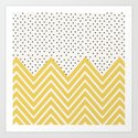 Chartreuse Chevron and dots  by allyjcat