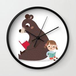 Reading with Bear Wall Clock