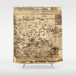 Map of New England by William Hubbard (1677) Shower Curtain