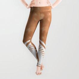 White mandala on copper Leggings