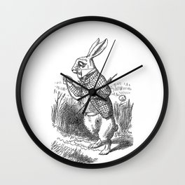 Vintage Alice in Wonderland the White Rabbit emo goth antique book drawing sketch art print Wall Clock
