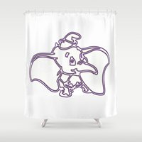 dumbo Shower Curtains featuring Dumbo by Beastie Toyz