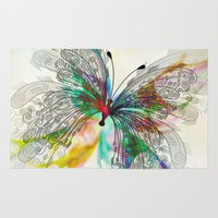 butterfly Area & Throw Rugs featuring Butterfly by Klara Acel