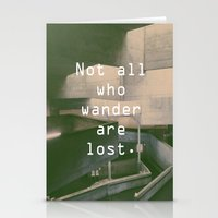 not all who wander Stationery Cards featuring Wander by Alexandra Pink