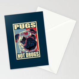 Pugs Not Drugs Funny Propaganda Stationery Cards