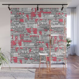 Paris toile strawberry pink Wall Mural