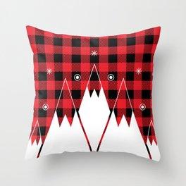 Red Buffalo Plaid Mountains Throw Pillow