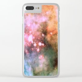 Colorful Pink Sparkle Carina Nebula Abstract Clear iPhone Case