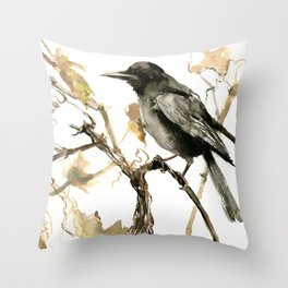 Crow in the Fall, Tribal Crow Raven art Throw Pillow