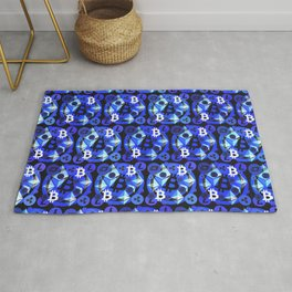 Cryptocurrency blue pattern Rug