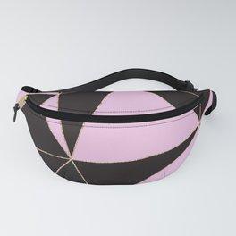 Geometrical elegant black pink watercolor rose gold stripes Fanny Pack