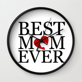 Best mom ever with face of a mother forming a heart- mothers day gifts for mom Wall Clock
