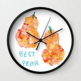 Best Pear - Fruit Painting Love Quote Couple Wall Clock