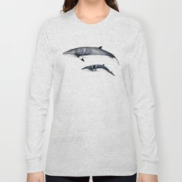 Minke whale with baby whale Long Sleeve T-shirt