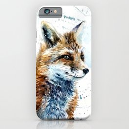 Fox wild & free watercolor painting iPhone Case