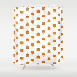 Orange Birkin Vibes High Fashion Purse Illustration Shower Curtain