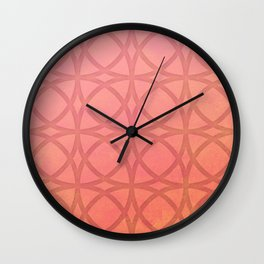 coral pink minimal pattern with geometric lines Wall Clock
