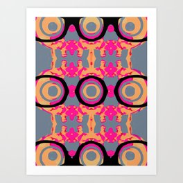 psychedelic graffiti skull head in pink and orange with grey background Art Print