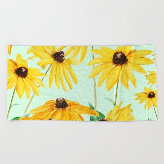 yellow sun choke flower 2 Beach Towel