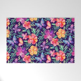 Summer Blooms & Butterflies on Dark Purple Welcome Mat
