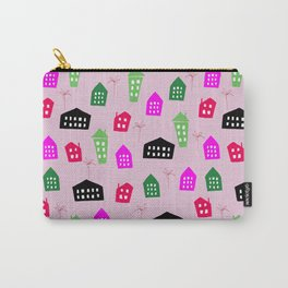 Abstract pink black green hand painted geometrical pattern Carry-All Pouch