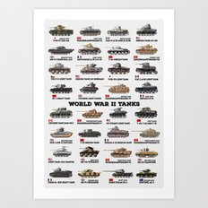 World War II Tanks Art Print