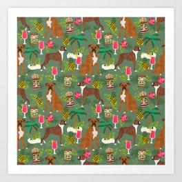 Boxer tiki tropical dog pattern modern pet friendly pet pattern dog breeds Art Print