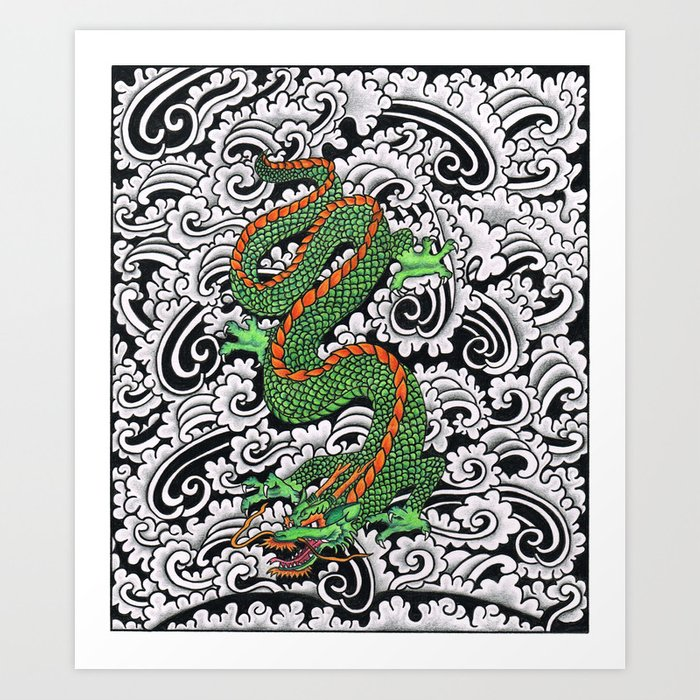 Dragon with patterns Art Print