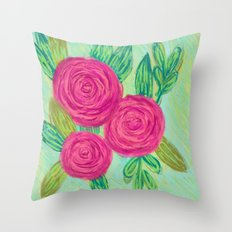 Roses painting chalk Throw Pillow