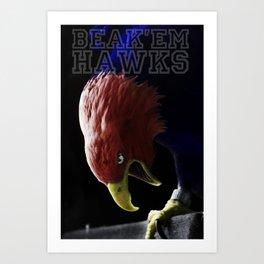 BEAK'EM HAWKS Art Print