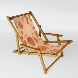 Orange Cutout Print Sling Chair