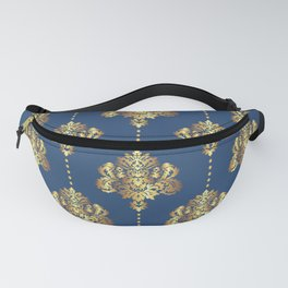 Gold damask flowers and pearls on blue background Fanny Pack