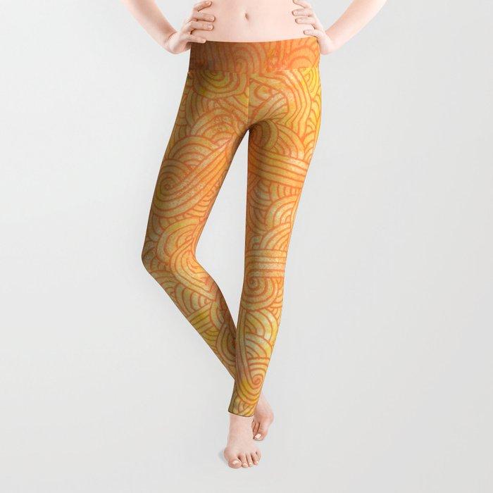 Yellow and orange swirls doodles Leggings