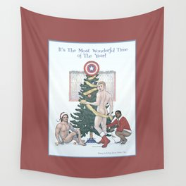 Team Cap Naughty Pinup Holiday Card Wall Tapestry
