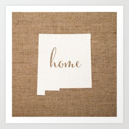 New Mexico is Home - White on Burlap Art Print