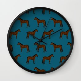Bay Horse breed farm animal pet pattern horses Wall Clock