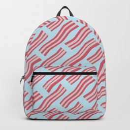 Frying Bacon Over Blue Backpack