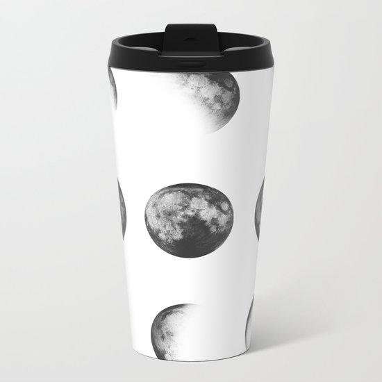MOON PHASES • white Metal Travel Mug