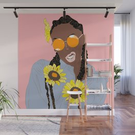 Believe in Yo Juice - Digital Black Goddess Vector Drawing Wall Mural