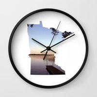 minnesota Wall Clocks featuring Lake Minnesota by Keaton