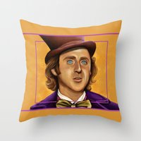 willy wonka Throw Pillows featuring The Wilder Wonka by Shana-Lee