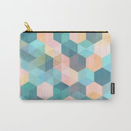 Child's Play 2 - hexagon pattern in soft blue, pink, peach & aqua Carry-All Pouch