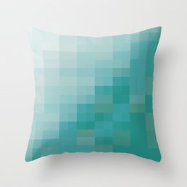 SAM SQWATCH | squares, pixels, turquoise Throw Pillow