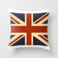 british flag Throw Pillows featuring British Flag Vintage Illustration by MY  HOME