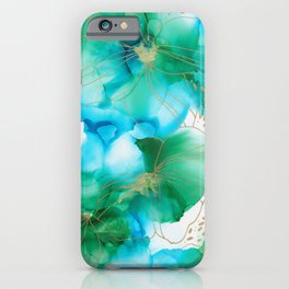 Alcohol Ink blue green flowers iPhone Case