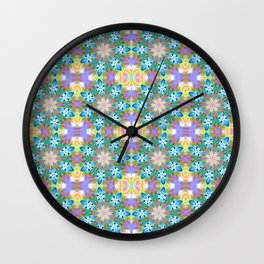 Abstract Blue Spring Flowers Wall Clock