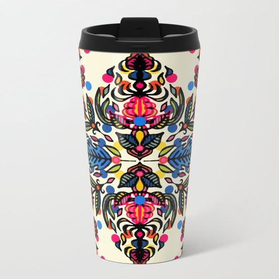 Bright Folk Art Pattern - hot pink, orange, blue & green Metal Travel Mug