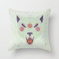 cosmic Throw Pillows featuring Cosmic Cat by LordofMasks