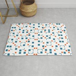 Blue and Orange Tiles Pattern Rug