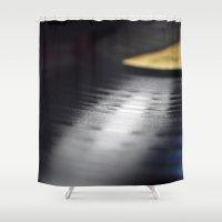 vinyl Shower Curtains featuring Vinyl by Karl Turner